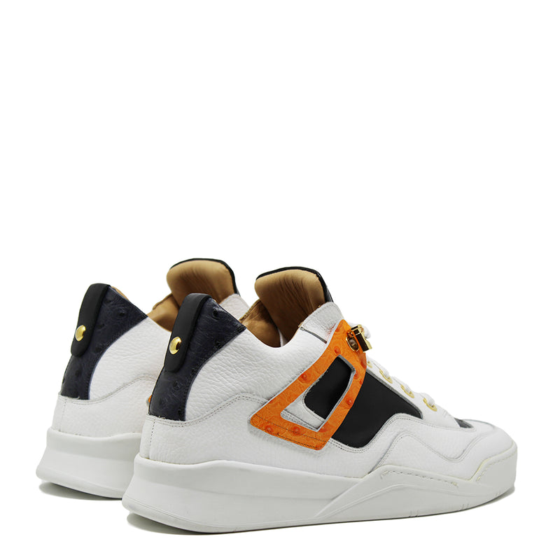 Power White | Orange | Ostrich Leather