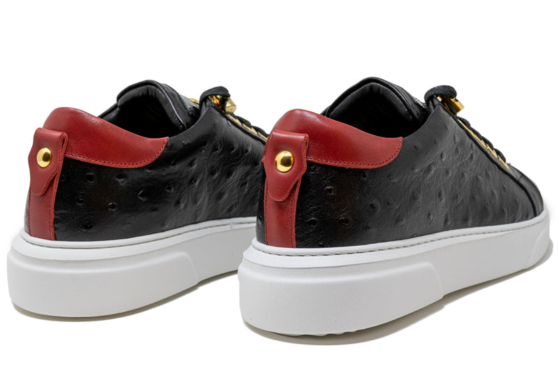 Copy of V.I.P. VII Low Black | Red Ostrich