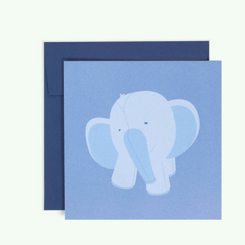 Bonnefetti Greeting Card Baby Blue Elephant