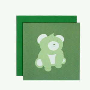 Bonnefetti Greeting Card Baby Green Bear