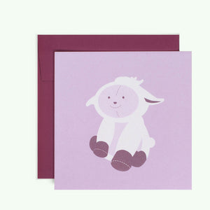 Bonnefetti Greeting Card Purple Baby Lamb