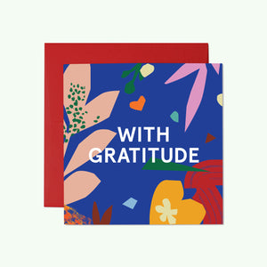 Bonnefetti Bold Mini Thank You Cards  – With Gratitude Blue Floral