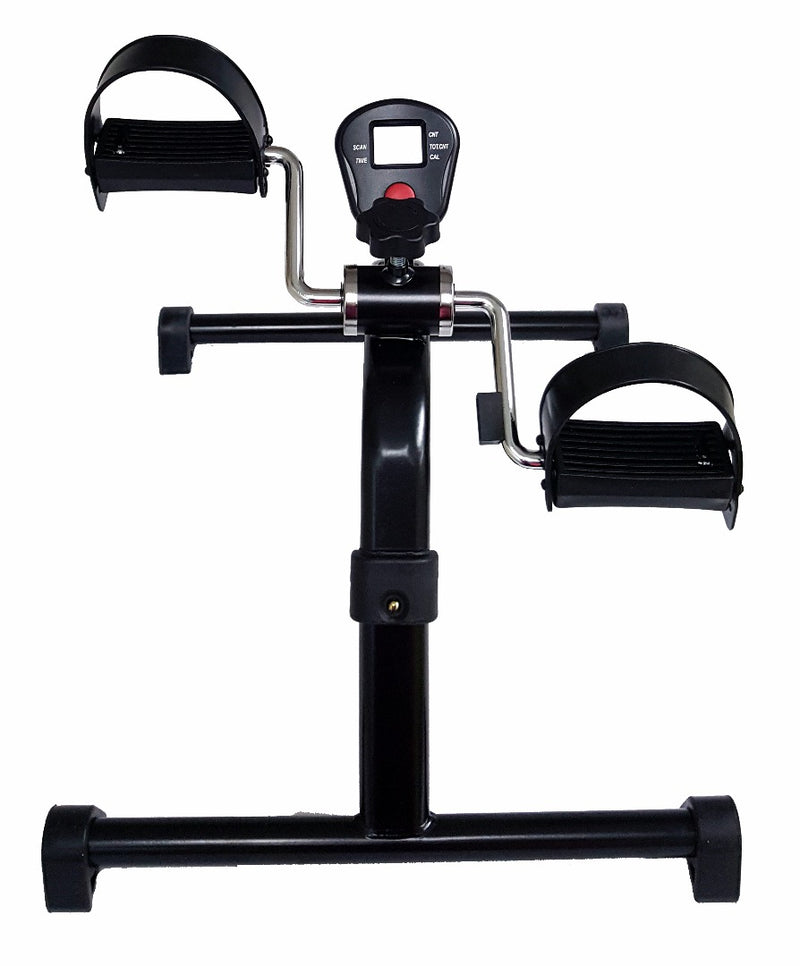 Folding pedal exerciser with pedometer