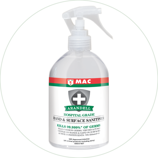 Hand & Surface Sanitiser Spray 500ml | Arandell | Sanitising Products | Radius Shop | NZ