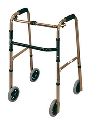 DELUXE Folding Walking Frame with 4 Fixed Wheels