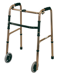 DELUXE Folding Walking Frame with Front Wheels and Rear Stops