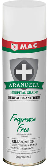 Surface Sanitiser Spray Fragrance Free 500ml | Arandell | Arandee | Sanitising Products | Radius Shop | NZ
