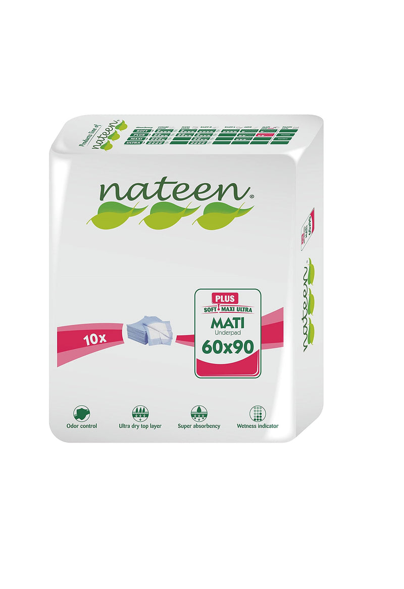 Nateen Mati Plus | Disposable Bed Protector | 1000ml capacity | 60x90cm  | 10 un.