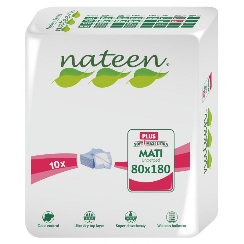 Nateen Mati Plus Extra Long<br>Disposable Bed Protector <br>1200ml capacity <br>80x180cm  | 10 un.