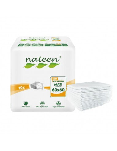 Nateen Mati Plus | Disposable Bed Protector  | 500ml capacity | 60x60cm | 10 un.
