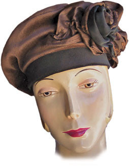 708B Brown and Black Velvet Beret