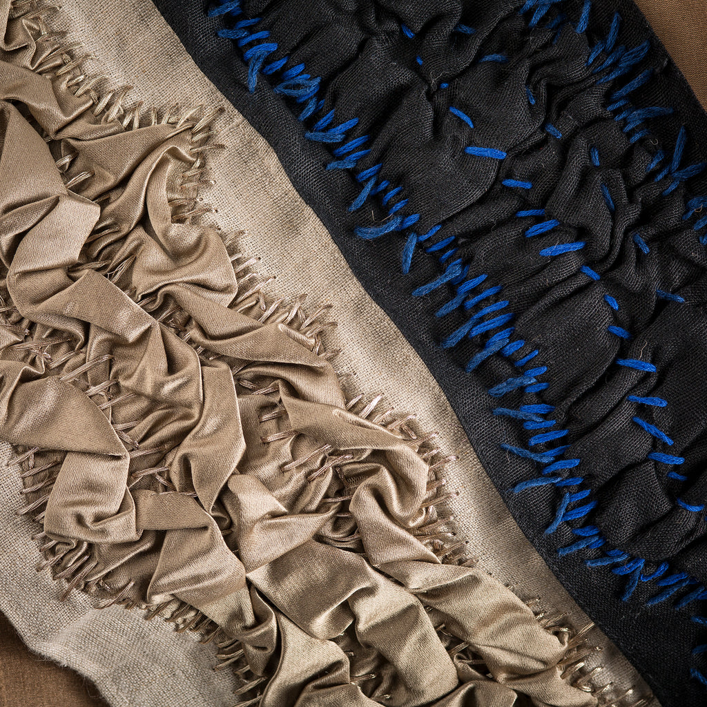 "Ocean Floor Trim from The Queens Conquest Trim Collection: by acclaimed luxury interior designer Michelle Workman for Pyar&Co. This hand-stitched trim is 4"" wide for use on curtains, upholstery and home accessories. Shown here in both the Gunmetal and Admiralty colorways."