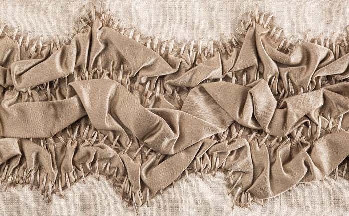 "Ocean Floor Trim from The Queens Conquest Trim Collection: by acclaimed luxury interior designer Michelle Workman for Pyar&Co. This hand-stitched trim is 4"" wide for use on curtains, upholstery and home accessories. Shown here in the Gunmetal colorway."