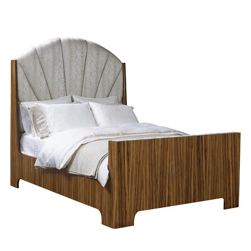 As seen in the 2017 Traditional Home Dallas Showhouse, the Between the Sheets Bed is constructed in beautiful Zebrawood with a dark or light finish. Paired with fabric of your choice for the headboard, this piece adds a layer of luxury to any bedroom. From The Facet Collection, designed by Michelle Workman for French Heritage, it's perfect for anyone looking to achieve that luxurious, high-end look in their home.