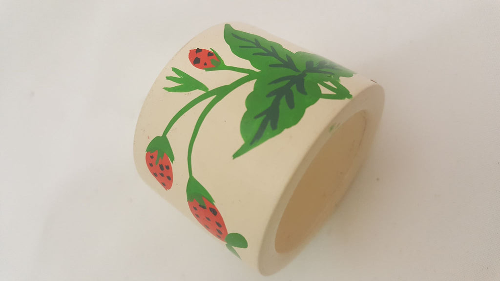 Set of 10 Lacquered and Hand-Painted Strawberry Napkin Rings
