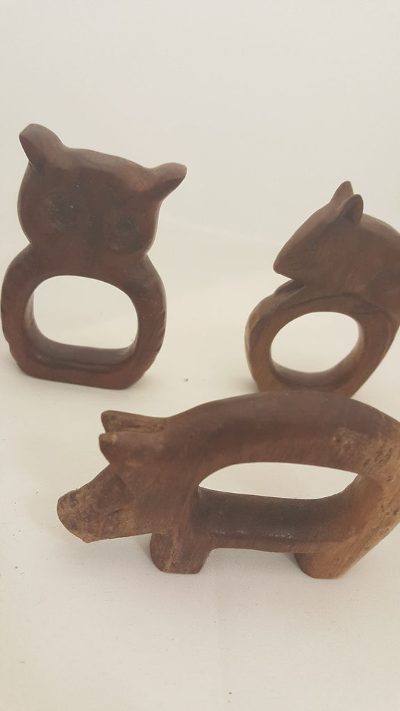Set of 8 Hand Carved Animal Napkin Holders