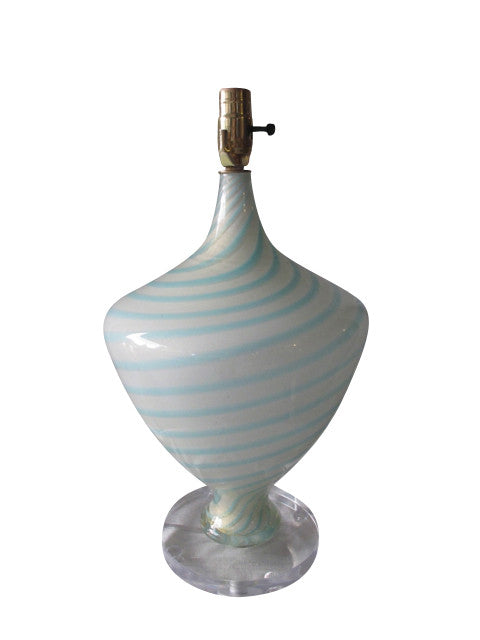 A gorgeous and rare white and turquoise swirled Murano glass lamp with 24k gold flecks. From the now-closed Barbini Factory in Murano, Italy, circa 1955. Perfect for the vintage glass collector or an individual looking to achieve that luxurious, high-end look in their home.