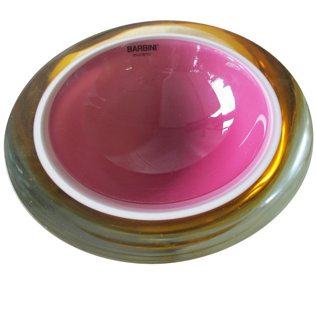 Alfredo Barbini Pink and Mustard Murano Glass Bowl