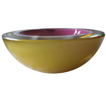 This medium-sized, thick walled glass bowl is geode-cut and layered with pink, white and mustard-colored glass. This gorgeous Sommerso Murano bowl is from the now-closed Barbini Factory in Murano, Italy, circa 1960. Perfect for the vintage glass collector or an individual looking to achieve that luxurious, high-end look in their home.