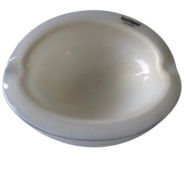 Alfredo Barbini White Murano Glass Bowl