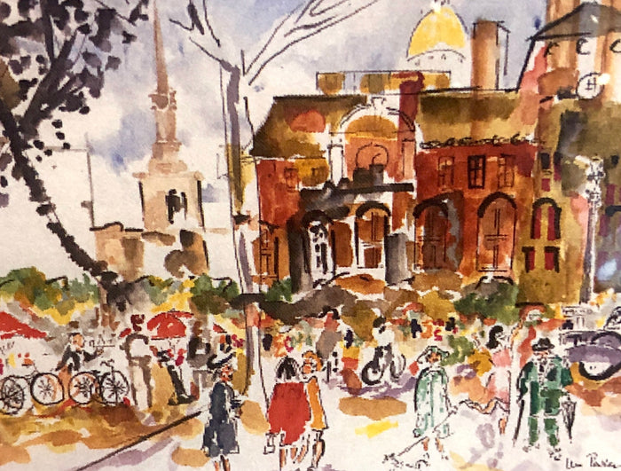 Original Watercolor Painting - Billy Parker - Busy Day on a Street in Paris