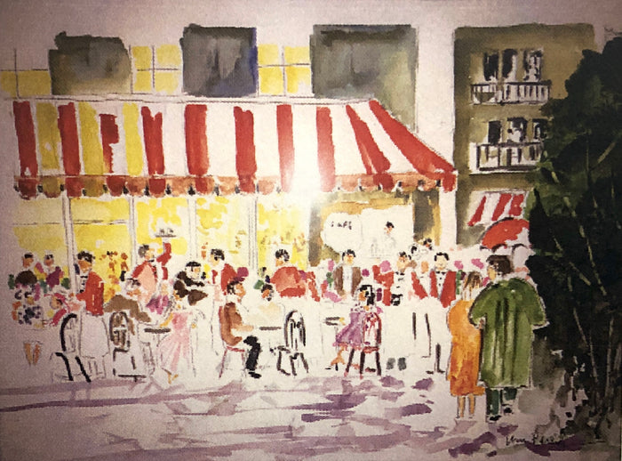 Original Watercolor Painting - Billy Parker - Cafe Along Champe de Elysees