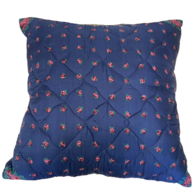 Vintage Silk Scarf Custom Throw Pillow - Navy with Pink Roses