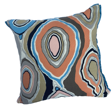Custom Geode Abstract Pillow with Blue Trim
