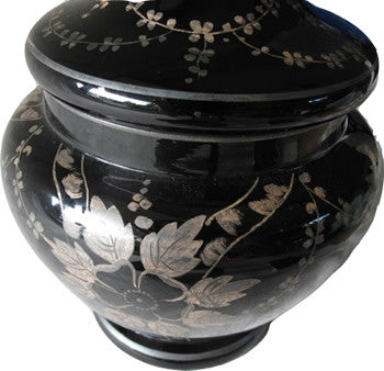 Gorgeous black amethyst urn made in Czechoslovakia with silver (likely sterling) metal overlay. Perfect for the vintage collector or an individual looking to achieve that luxurious, high-end look in their home.