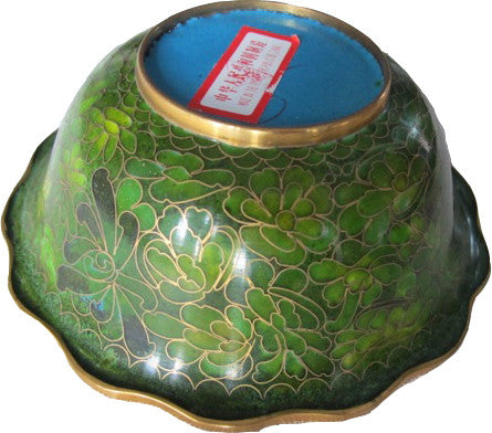 Small, vintage, green cloisonné bowl with inlaid Chrysanthemum pattern and scalloped lip. Absolutely beautiful and so unique! Perfect for the vintage collector or an individual looking to achieve that luxurious, high-end look in their home.