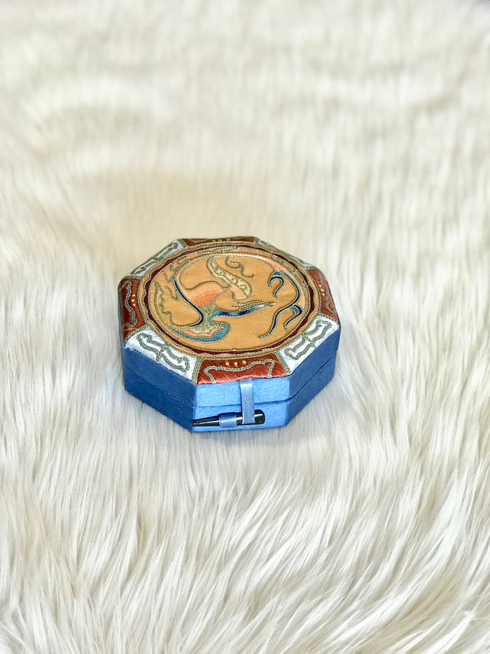 Octagonal Blue Silk Box