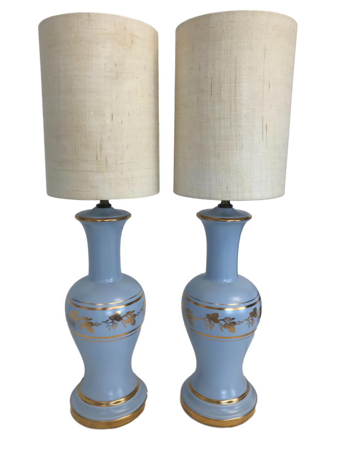 Pair of Pale Blue Lamps with Gilded Grape Leaf Motif