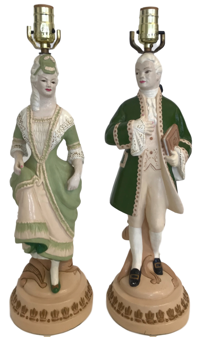 Pair of Dresden Figural Lamps
