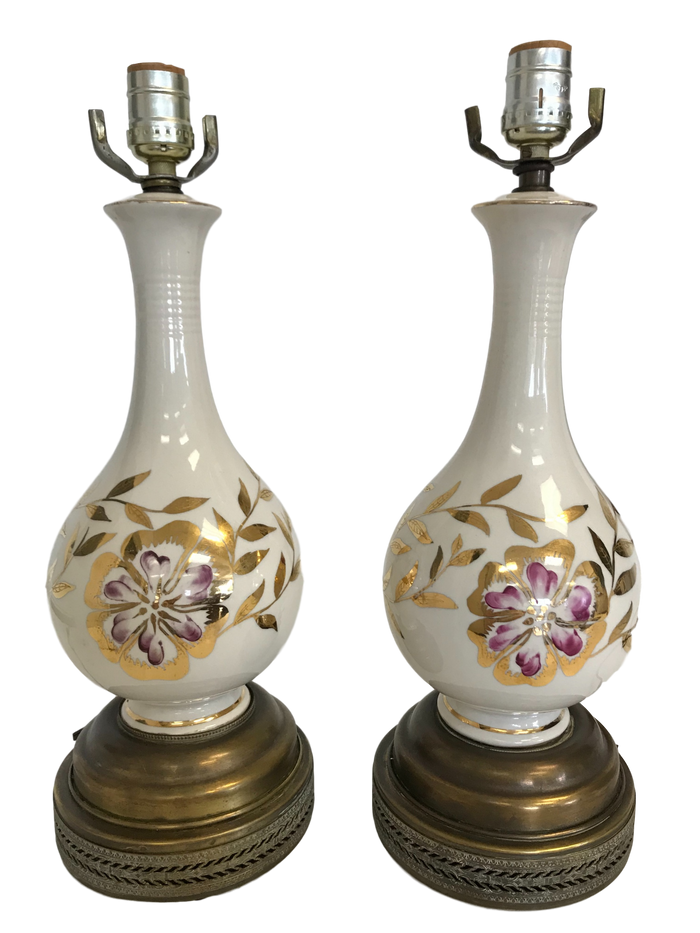 Pair of Mid-Century Gourd Shaped Lamps