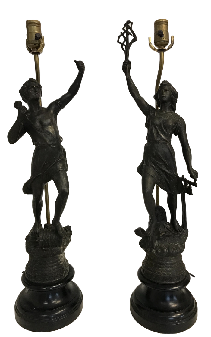 Pair of 1930s Roman Figural Lamps