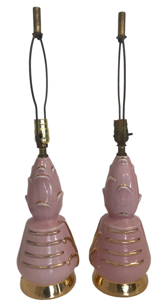 Pair of Pink Ceramic MCM Lamps
