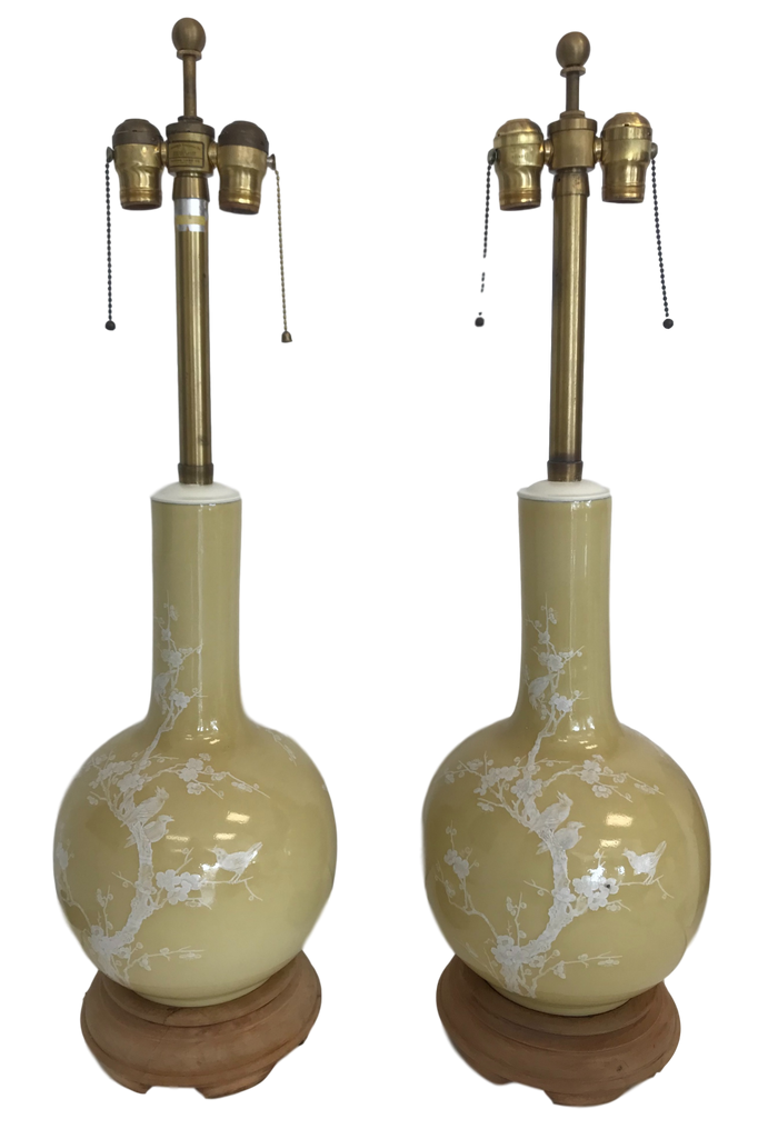 Pair of Marbro Ceramic Chinoiserie Lamps