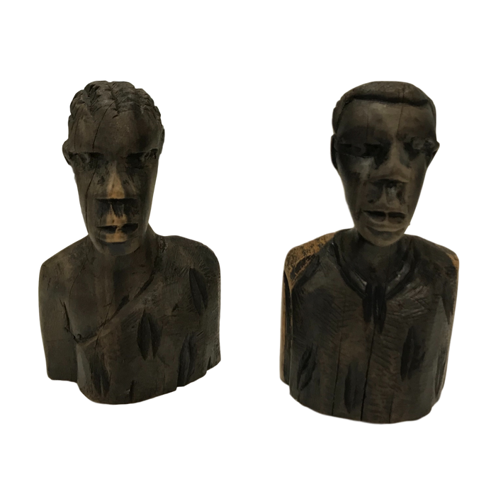 Pair of African Hand Carved Totem