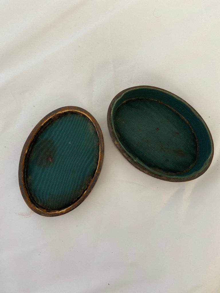 Oval Leather Jewelry Box with Gold Detail
