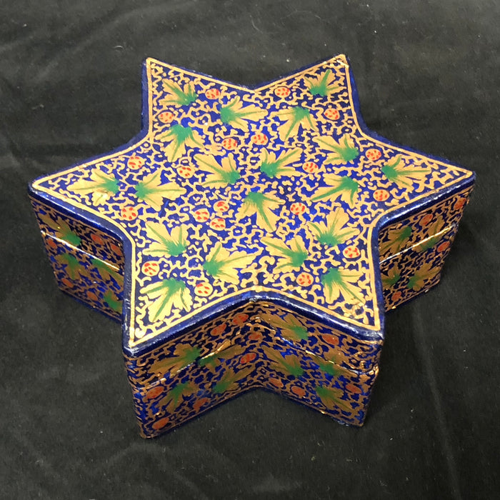 Blue, Green, and Gold Hand-Painted Star-Shaped Lacquer Box