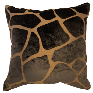 Brown Velvet Giraffe Print Pillow