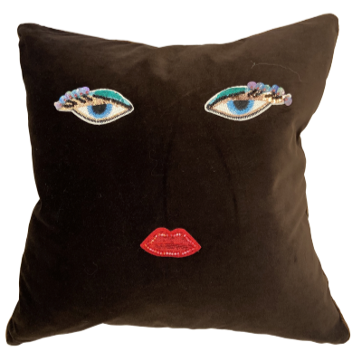 Custom Sequined Face Throw Pillow w/ Feather Insert