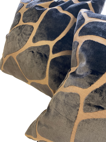 Brown Velvet Giraffe Print Throw Pillows