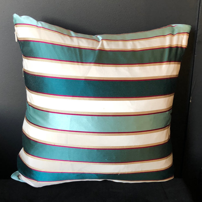 Striped Teal & Turquoise Silk Throw Pillow w/ Feather Insert