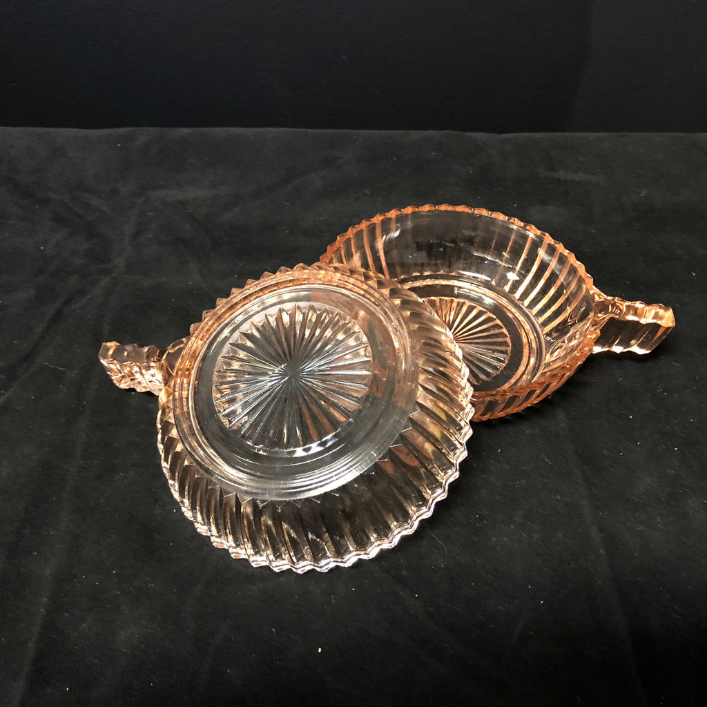 Pair of Pink Pressed Depression Glass Jewelry Dishes