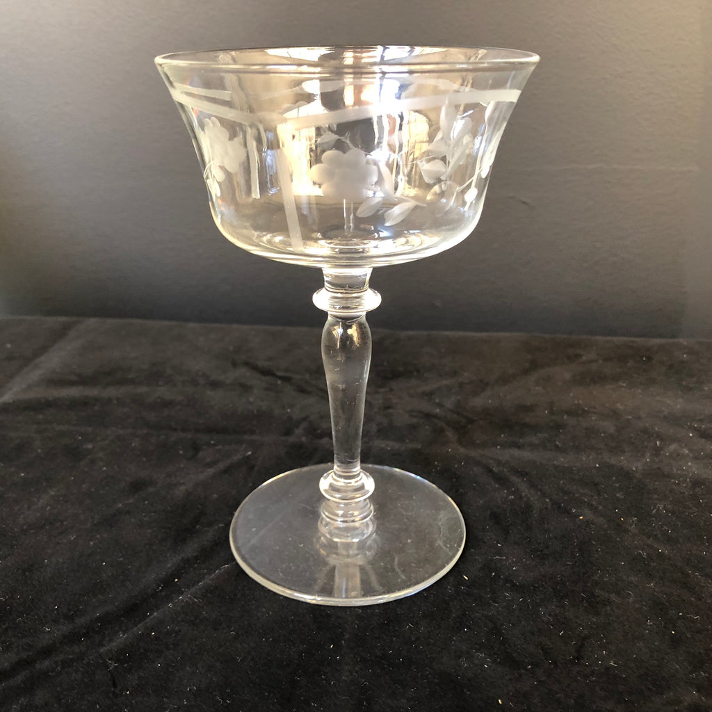 Bohemian Cut Glass Stemmed Dessert Cups, Set of 9