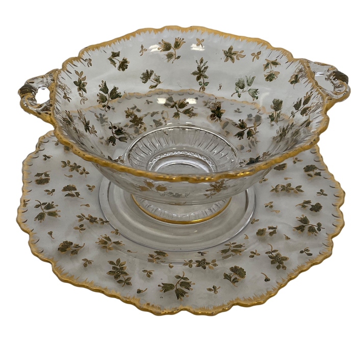 Glass Serving Bowl and Plate with Gold Floral Inlay