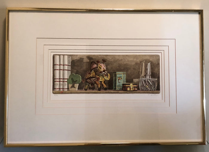 Hand-Tinted Etching of Decorative Shelf, Signed and Numbered