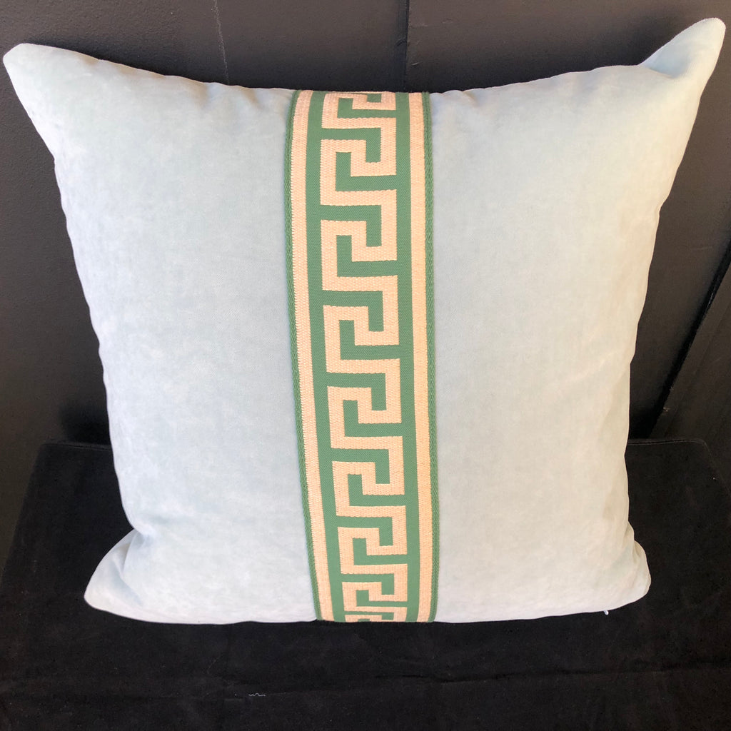 Blue Velvet with Greek Key Tape Throw Pillow w/ Feather Insert