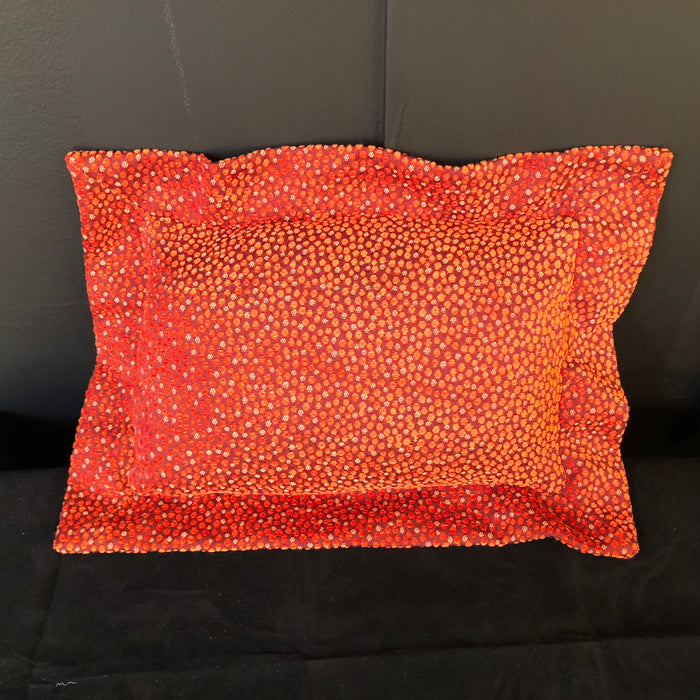 Orange Polka Dot Chenille Lumbar Pillow w/ Feather Insert